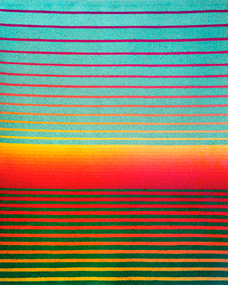 horizontal woven piece with sunset colors by Sissel Blystad