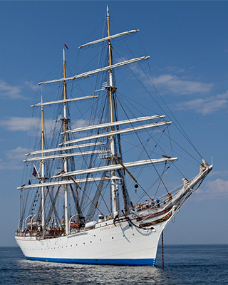 the Statsraad Lehmkuhl tallship out on the water for the One Ocean Expedition