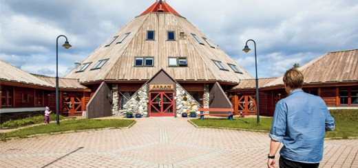 The Lule Sami Center with an angular dome shaped roof.