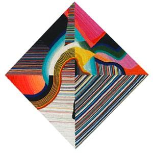 a geometric woven pattern in a diamond shape