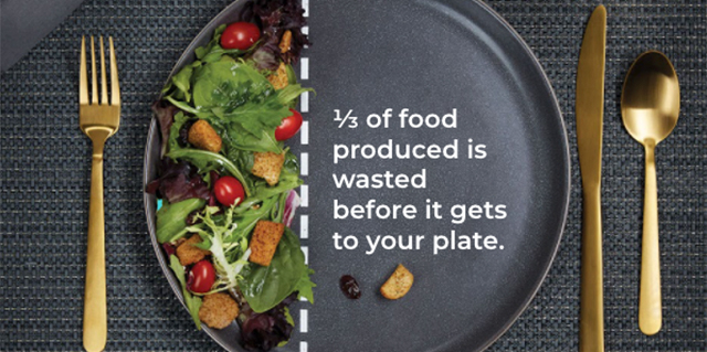 """A plat with 2/3 of it empty, with text that reads """"1/3 of food produced is watsted before it gets to your plate."""""""