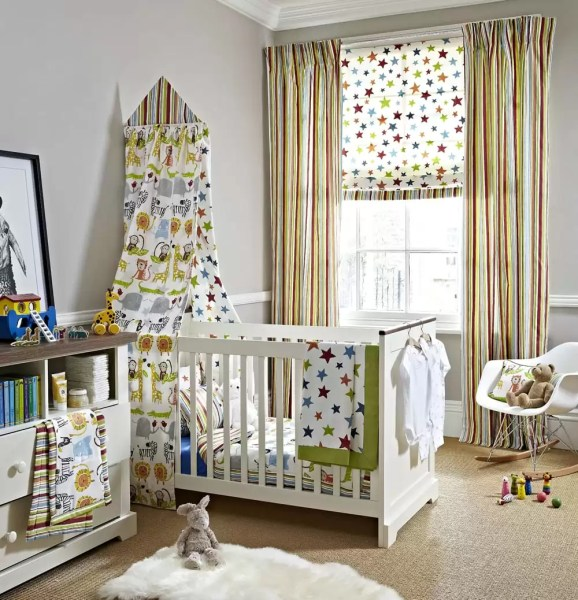 Children s blinds   Norwich Sunblinds     Childrens bedroom with Playtime fabric curtains and blinds with star   stripe and animal prints from