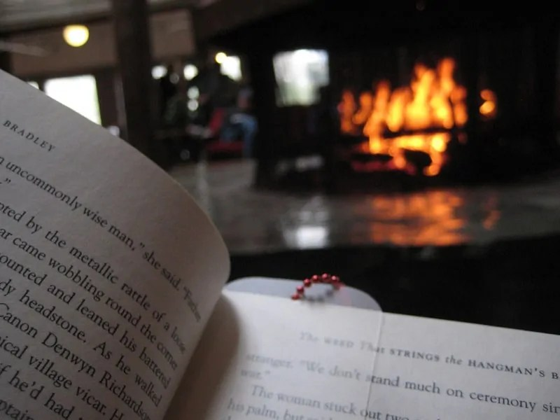 book and fireplace