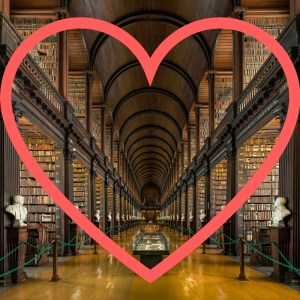 library image with heart-shaped outline