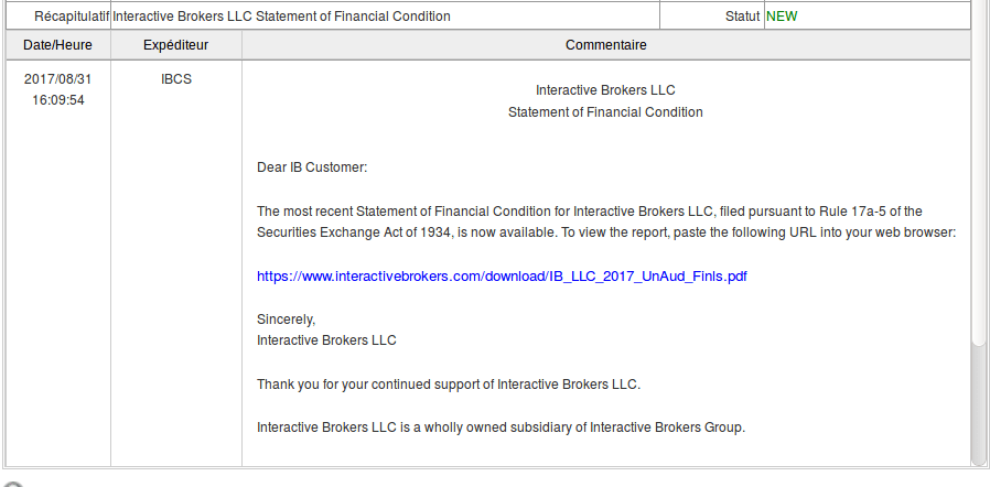 Message rapport financier Interactive Brokers