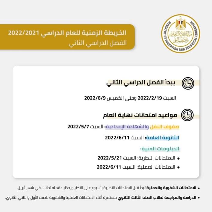 وزارة التربية والتعليم تعلن الخريطة الزمنية للعام الدراسي 2021-2022