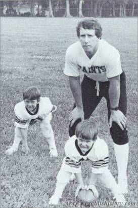 Saints QB Archie Manning with Peyton Manning and Cooper Manning