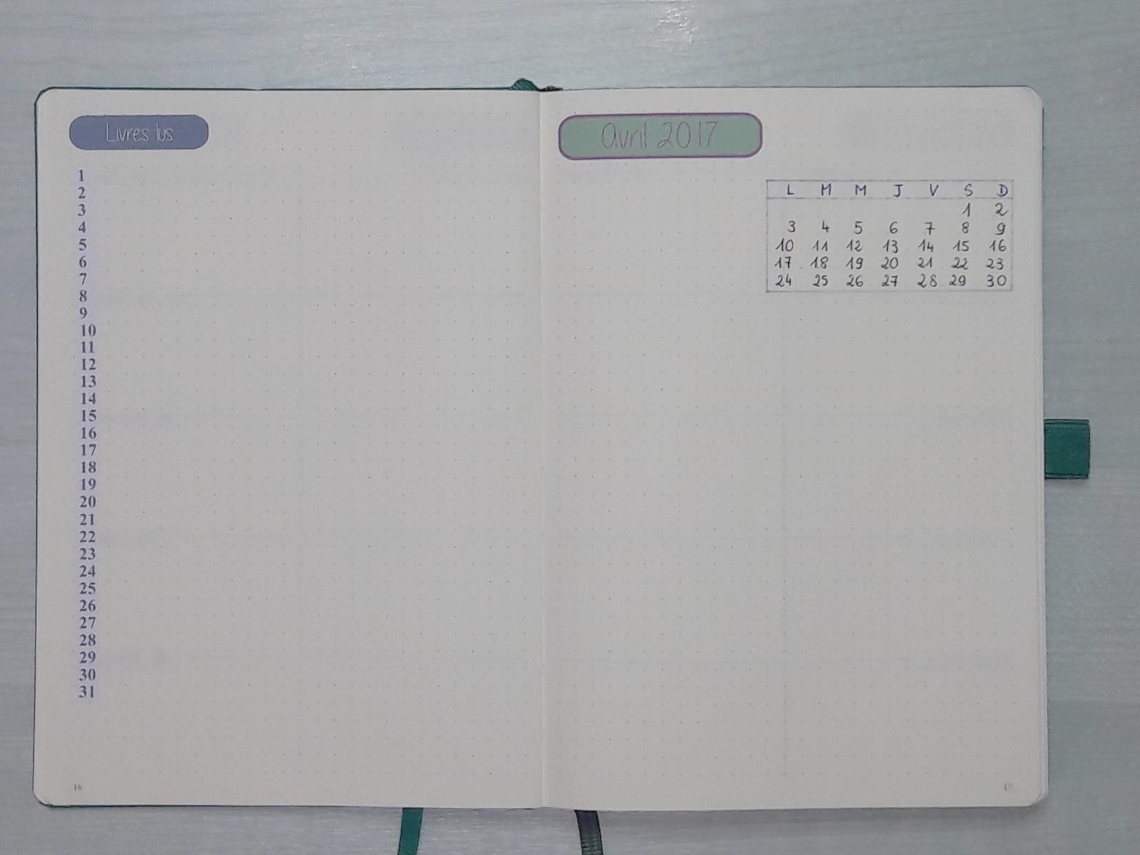 Bullet Journal - page de garde mensuelle