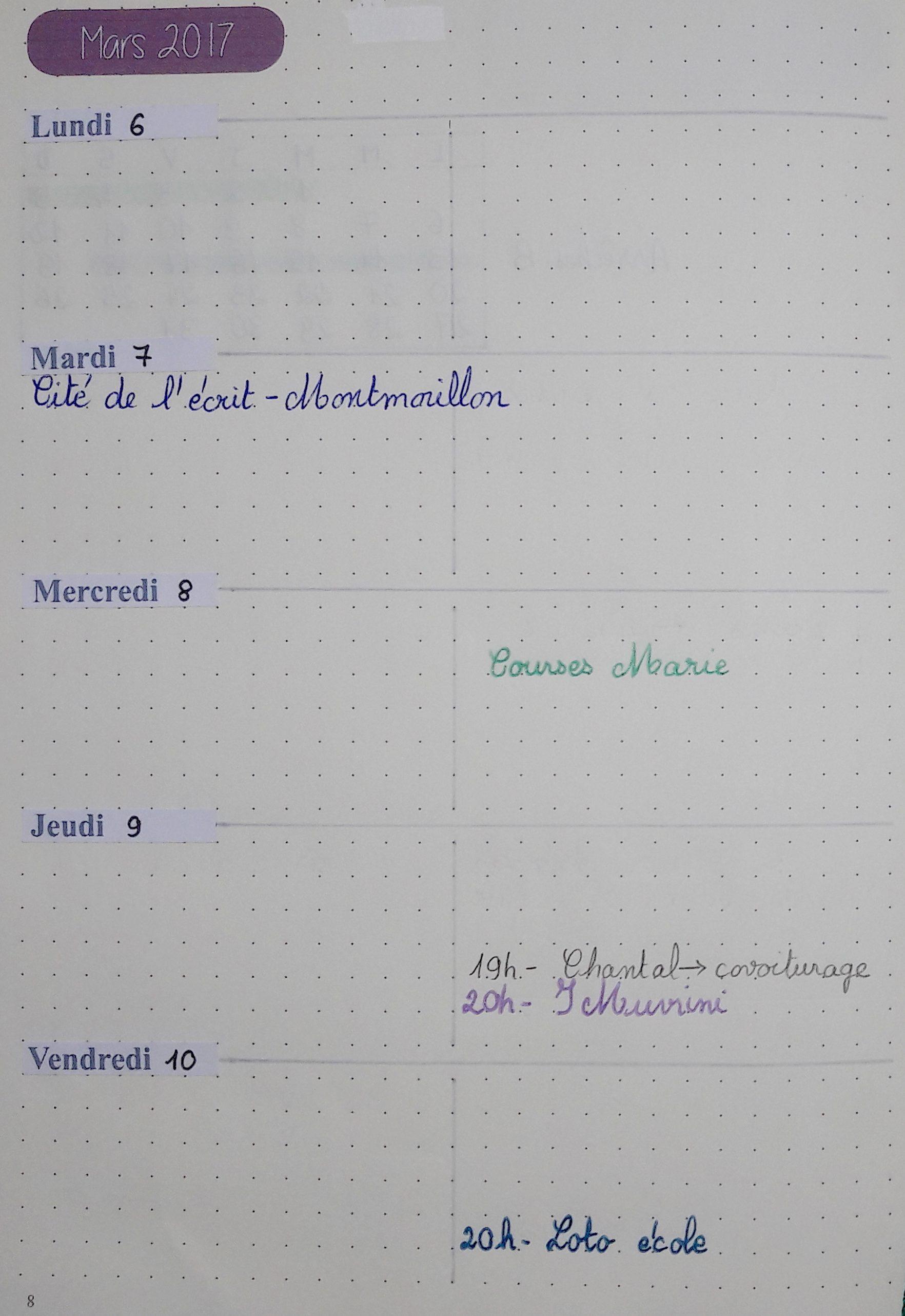 Bullet Journal - page agenda