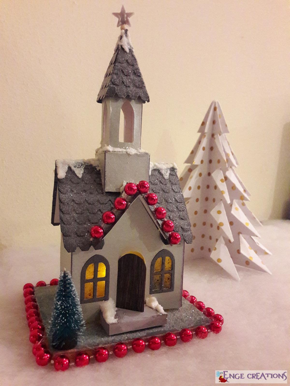 Décoration - Village de Noël en papier scrap