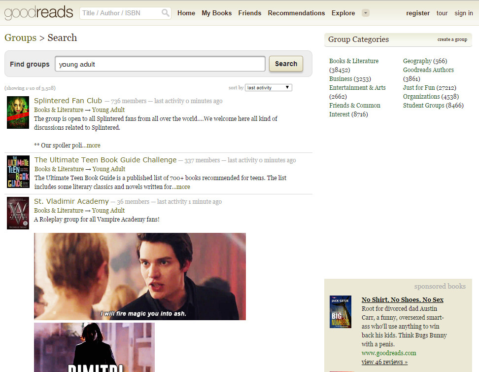 Young Adult groups on Goodreads