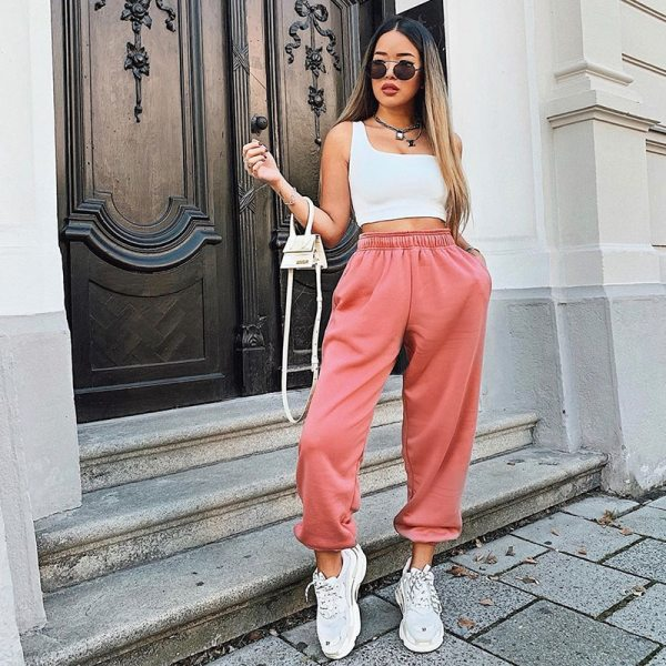 Rockmore Harajuku Joggers Wide Leg SweatPants Women Trousers Plus Size High Waist Pants Streetwear Korean Casual Pant Femme Fall