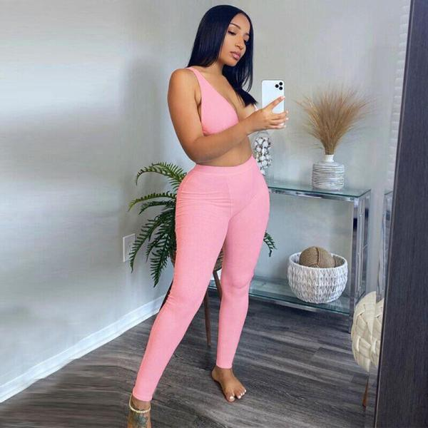 Hugcitar 2020 Sleeveless V-Neck Crop Tops Leggings 2 Pieces Set Summer Women Fashion Streetwear Outfits Sportswear Tracksuit