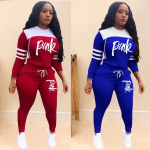 2019 Pink Letter Print Tracksuits Women Two Piece Set Spring Street t-shirt Tops and Jogger Set Suits Casual 2pcs Outfits