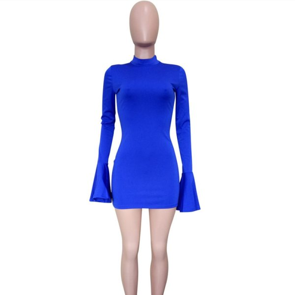 Joskaa Flare Long Sleeve High Neck Bandage Dress Elegant Sexy Club Party Night Outwear Birthday Fashion Women Dresses Autumn