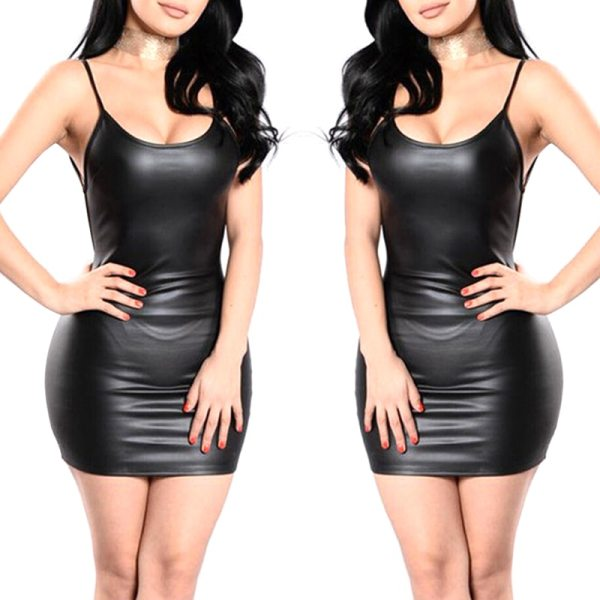 2019 Sexy Faux Leather Dress Backless Club Party Short Dress Solid Black Wet Look Latex Bodycon Push Up Bra Mini Micro Dress