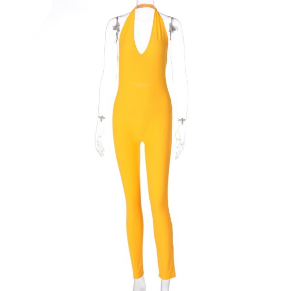 Simenual Solid Bodycon Halter Women Long Jumpsuits Skinny Backless Sleeveless Workout Overalls Sportswear Fashion Basic Jumpsuit