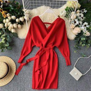 Luzuzi Autumn Winter Women Knitted Sweater Dress 2020 New Korean Long Batwing Sleeve V Neck Elegant Dress Ladies Bandage Dress