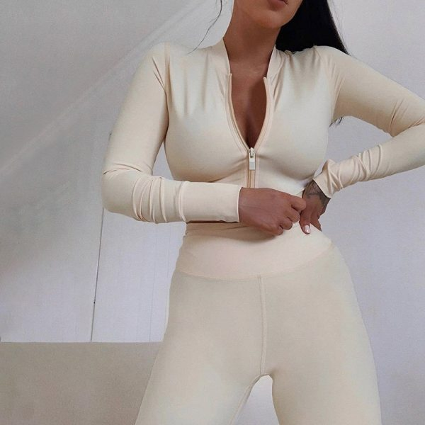 2020 Winter Women 2 Two Piece Set Long Sleeve Crop Tops Tshirt Leggings Pants Set Bodycon Sport Fitness Tracksuit