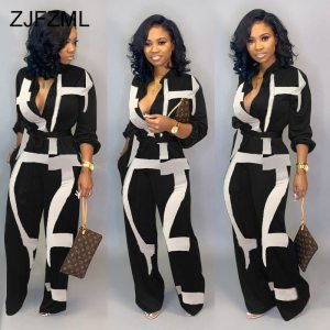 Color Block Button Up Causal Rompers Womens Jumpsuit Turn Down Collar Long Sleeve Sashes Bodysuit Plus Size Sexy Long Playsuit 1