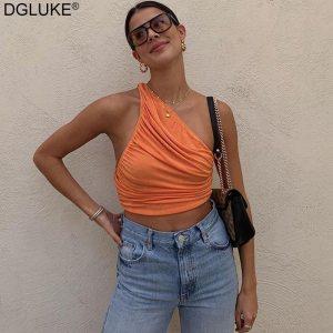 One Shoulder Crop Top Women Sexy Sleeveless Ruched Tank Top Summer White Black Blue Orange Plain Short Tanks Camis 1