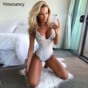 Lace Bodysuit Women Floral Embroidery Perspective Sexy Bodysuit 2020 Ladies Skinny Summer Overalls Body Femme 1