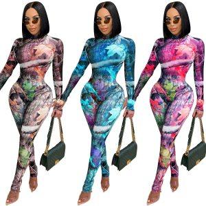 Zoctuo Print 2 Two Piece Set Autumn New Long Sleeve Women Set Outfits Turtleneck Bodysuit Top Long Pencil Pants Set Tracksuit 1