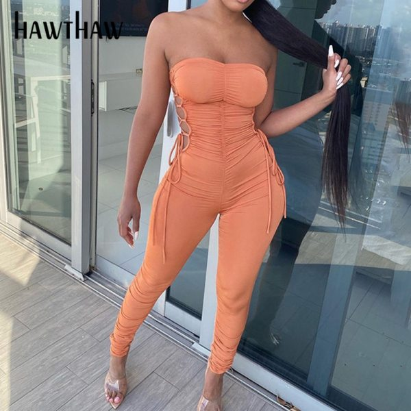 Hawthaw Women Autumn Summer Strapless Hollow Out Bodycon Soild Color Jumpsuit Romper Playsuit 2020 Fall Clothes Streetwear 1