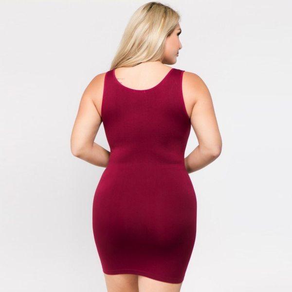 Plus Size Dresses For Women 4xl 5xl 6xl Party Bodycon Dress Elegant Midi O-neck Solid Color Sleeveless Sexy Dress Women Club#g6 4