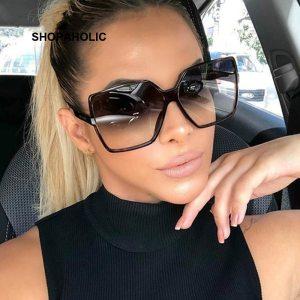 Black Square Oversized Sunglasses Women Big Frame Colorful Sun Glasses Female Mirror Oculos Unisex Gradient Hip Hop Shades 1