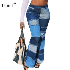 Liooil Color Block High Waist Flare Jeans With Pockets Streetwear Sexy Trousers Bell Bottoms Skinny Patchwork Denim Jean Pants 1