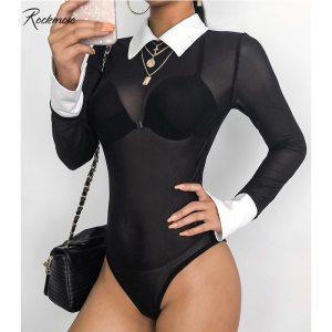 Rockmore Fishnet Transparent Long Sleeve Panelled Bodysuit Women Turn-down Collar Hollow Out Femme Bodysuits Playsuit Autumn 1