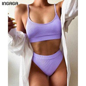 INGAGA High Waist Bikinis Swimsuits Women Push Up Swimwear Ribbed Strap Bathing Suit Biquini Brazilian Bikini 2021 New Beachwear 1