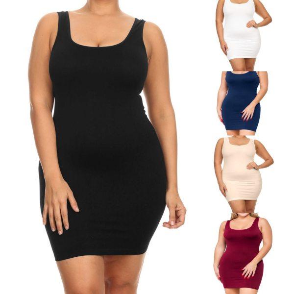 Plus Size Dresses For Women 4xl 5xl 6xl Party Bodycon Dress Elegant Midi O-neck Solid Color Sleeveless Sexy Dress Women Club#g6 5