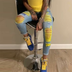 Ripped jeans High Waist Hole Women Trousers Club Outfits 2020 Street trendy feet pants light-colored  Sexy Hollow out denim Pant 1