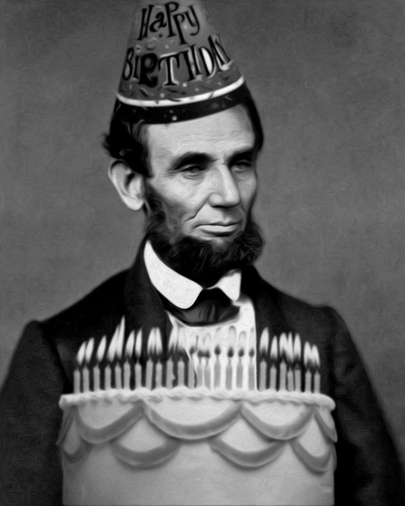GN Abe Lincoln-Abraham BDAy Hat cake