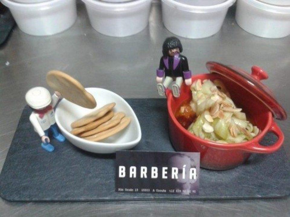 Compota de zanahoria con calabacín, vinagreta almendras y balsámico de miel