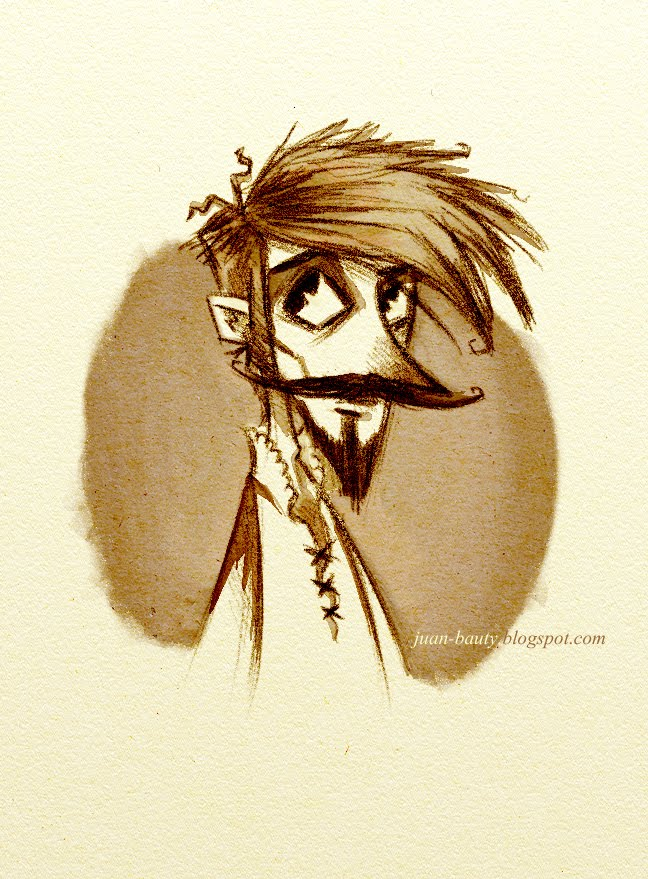 Poeta romántico. Ilustración de Juan Bauty. Foto del autor.