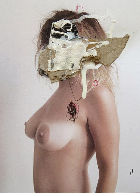 MAD FACE 102 MIXED MEDIA:COLLAGE ON PHOTO. 15 x 20 cm