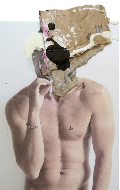 MAD FACE 104 MIXED MEDIA:COLLAGE ON PHOTO. 15 x 20 cm