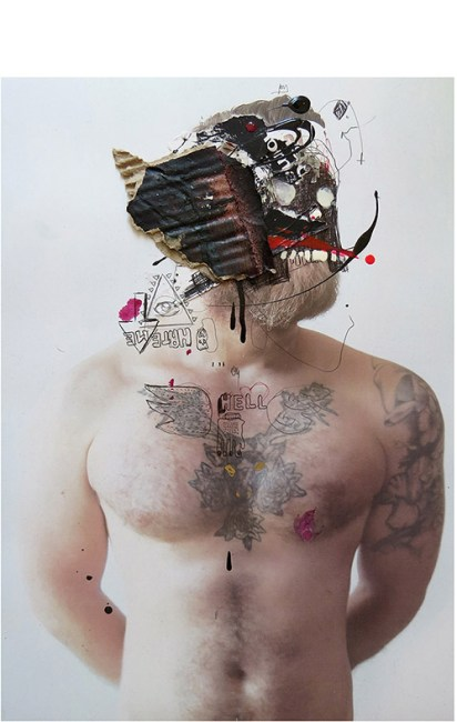 MAD FACE 105 MIXED MEDIA:COLLAGE ON PHOTO. 15 x 20 cm