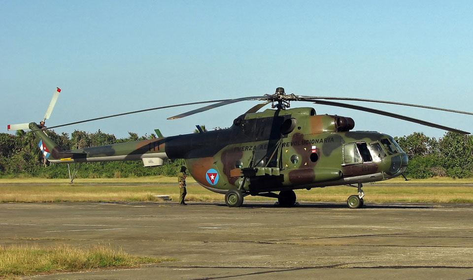 Os helicópteros Mi-8 são um dos atuais meios mais utilizados pela Força Aérea da Cuba