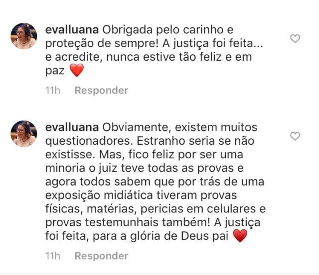 Eva Luana comenta condenação de padrasto nas redes sociais 2