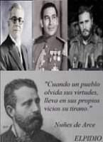 """Image may contain: 4 people, beard, text that says 'ppncn """"Cuando un pueblo olvida sus virtudes, lleva en sus propios vicios su tirano."""" JLCP Nuñes de Arce ELPIDIO'"""