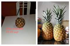 May be an image of fruit and text that says 'piña pequeña 25.00 cup'
