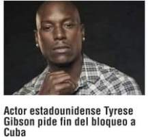 May be a meme of 2 people and text that says 'Actor estadounidense Tyrese Gibson pide fin del bloqueo a Cuba'