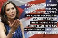 May be an image of 1 person, standing and text that says 'THE COMMUNIST REGIME IN CUBA IS THE PROBLEM, NOT THE UNITED STATES. THE CUBAN PEOPLE ARE STANDING UP FOR THEIR RIGHTS AFTER MORE THAN 60 YEARS OF OPPRESSION AND ARE DEMANDING FREEDOM.'