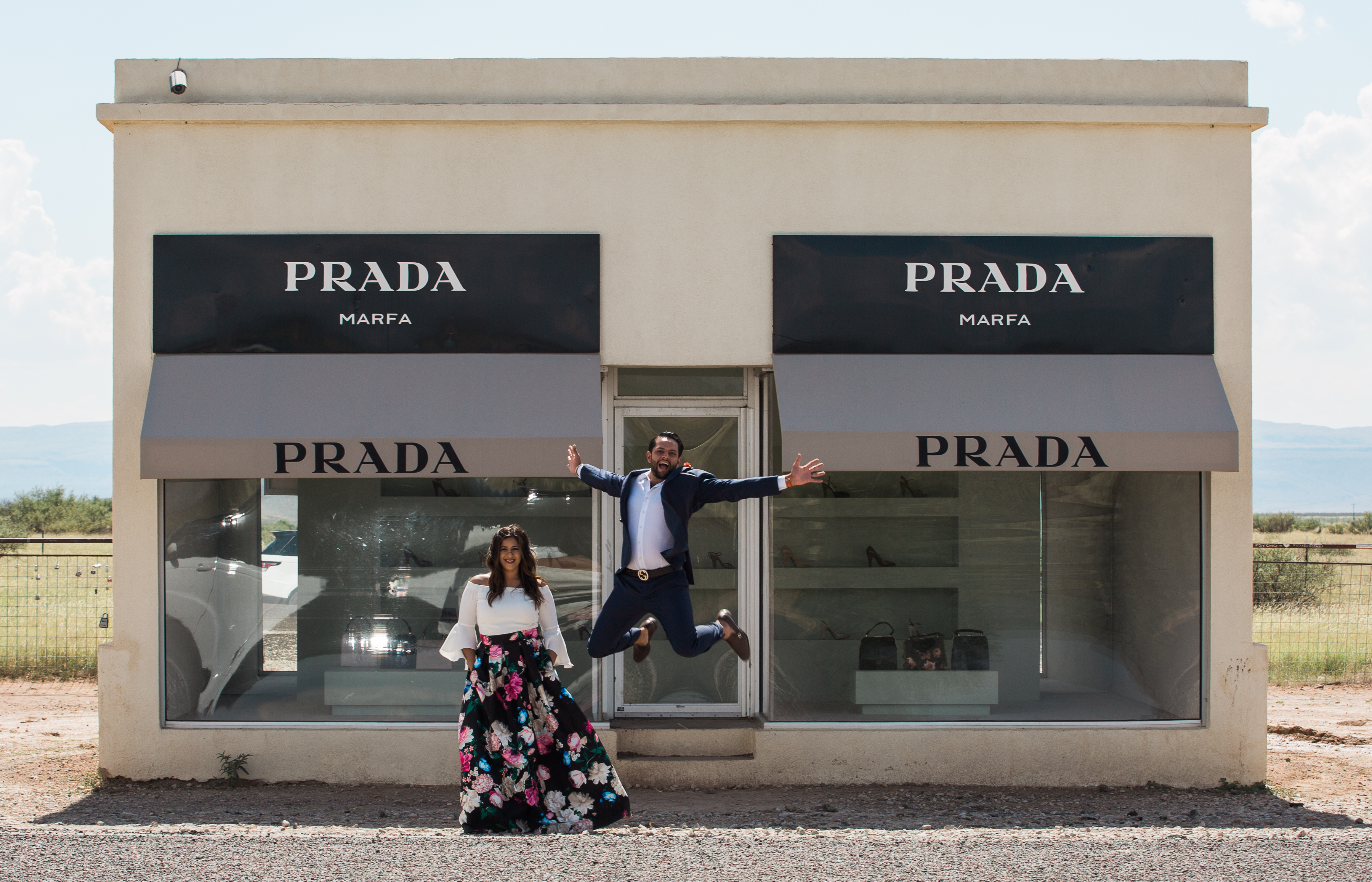 Marfa Texas Engagement at Prada Marfa