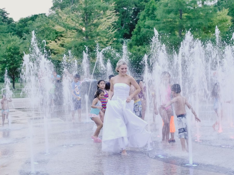 Bridal Portrait Splash pad - Trash the Dress, Day after Session - Austin