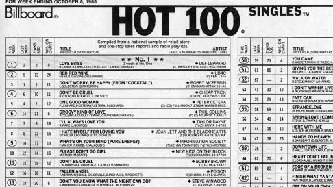 1988 Billboard Magazine Hot 100 Single Chart - Def Leppard Love Bites at #1